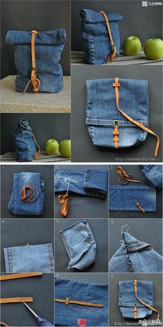 DIY - Blue Jean Bag. Follow the pic-tutorial for this fun bag. Make one tonight!