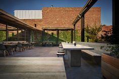 PlyCraft Joinery All Press Cafe & Roastery in Collingwood. Built by Ficus Constructions Press Cafe, Retractable Awning, Ficus, Melbourne Australia, Creative Studio, Joinery, Photo Studio, Construction, Patio