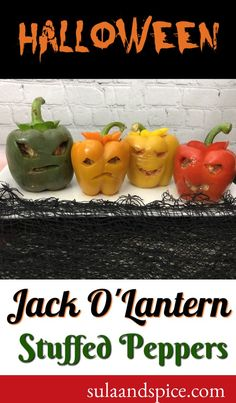 Stuffed peppers are a classic dish. Have some Halloween fun by carving your peppers into Jack O'Lantern faces! Fun for everyone! #stuffed peppers #jackolantern #halloweenfood