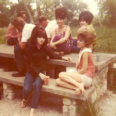 Teens hangin' out at a park, 1960s....love the big hair!