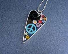 A Peace of My Heart-Peace Sign, Flowers and Heart Necklace