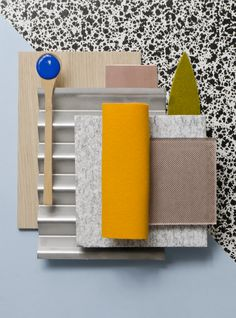 Weekly material mood 〰 Black splatter pattern, blue and pop orange. Hashtags…
