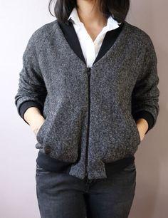 Rigel bomber de Papercut patterns en laine bouillie gris chiné