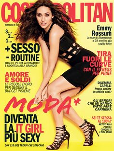 Who made Emmy Rossum's black cut out dress and lace up sandals that she wore on the cover of Cosmopolitan magazine? Top Models, Halle, Now Magazine, Magazine Covers, Marrying Young, Celebrity Magazines, Celebrity Photos, Celebrity News, Emmy Rossum