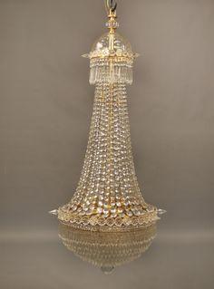 A Beautiful Late 19th Century Gilt Bronze Beaded Eight Light Drop Crystal Chandelier