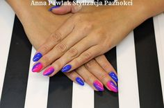 by Ania Pawlak :) Follow us on Pinterest. Find more inspiration at www.indigo-nails.com #nailart #nails #indigo #pink #blue #ombre