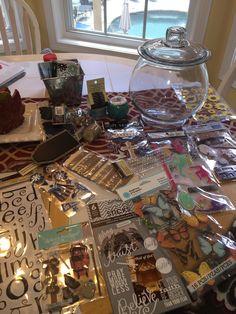 Prayer jar, stickers, embellishments, tape, yute string, twine, chalkboard tag, trim borders