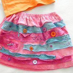 Hand dyed skirt made from big brother's old t-shirt. Learn how to make your own!