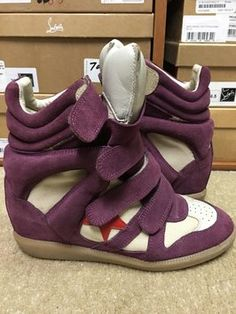23e9858fd734 Isabel Marant Purple Bayley Over Basket Red Star Suede Wedge High Top  Sneakers 38 Sneakers Size US 8 Regular (M