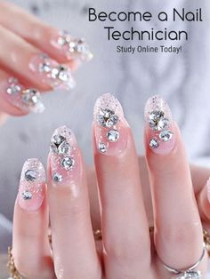 Ever wanted to become a Nail Technician? Why not take an online course today, study the skills and tecniques you need to become a top Nail Technician, practice in your own time and fit your study around your lifestyle. Its a New Year, time to follow your dreams and ambitions, take a course to get you started on a new career. You can do it, its time to make a better you. Nail Art Rhinestones, Rhinestone Nails, Chic Nails, Stylish Nails, 3d Nail Art, Easy Nail Art, Nail Technician Courses, Chic Nail Designs, Fake Nails With Glue