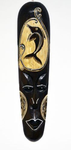 RARE DOLPHIN TRIBAL WOODEN MASK HANDCRAFTED HOME DECOR PAINTED ART M359