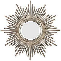 Sunburst Reflections Antique Silver Resin Round Wall Mirror