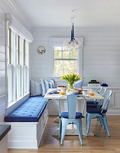 "Beach Cottage with Crisp and Fresh Coastal Interiors - ""Kitchen Nook Banquette"""
