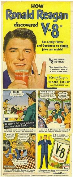 """Ad: """"How Ronald Reagan Discovered V-8"""" from 1951. (Tommer G on Flickr)"""