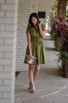 Green Tie Waist Dress  Stye The Girl