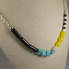 Dyna Short Necklace - Glass, Turquoise Magnesite, Agate. Limited Edition Jewellery Handmade in New Zealand. $29.00NZD www.theothermrsbell.com
