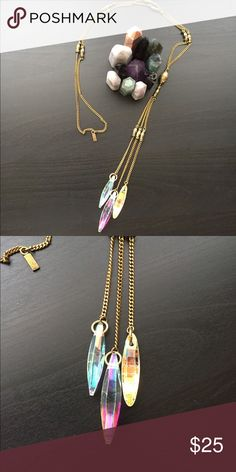 Vanessa Mooney Long Rainbow Crystal Gold Necklace NWOT, by Vanessa Mooney tagged for visibility Topshop Jewelry Necklaces