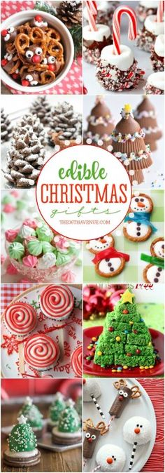 Christmas Treats that you can eat! - These Christmas Recipes make the perfect Edible Gifts. Share them with your family, neighbors, and friends, or make them for Christmas Parties! These Christmas desserts are yummy, easy, and adorable! PIN IT NOW and make them later!
