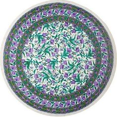 French Floral Tablecloth 66 inch Round Cotton Emerald Purple