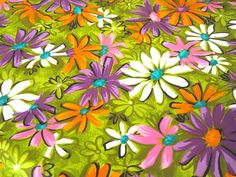 Vintage Fabric - Neon Daisies
