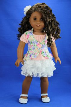 Handmade 18 inch doll clothes - Floral 4 piece spring vest outfit (506) by DolliciousClothes on Etsy