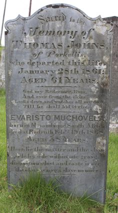 Grave Mistakes: A freed British slave and his former master buried in the same grave.