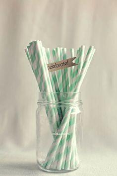 20 off  Seafoam Green Paper Straws x 50 by VanillaSkys on Etsy, $8.00