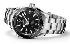 "Omega Seamaster James Bond Skyfall Watch 232.30.42.21.01.004.  The watch has a 42 mm brushed and polished stainless steel case and a matching patented screw-and-pin bracelet whose divers' clasp is engraved with ""007"". The rotating diving bezel is distinguished by its matt black ceramic ring with a chromium nitride diving scale."