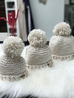 1 3 year olds chunky pompom hat handknitted baby pompom