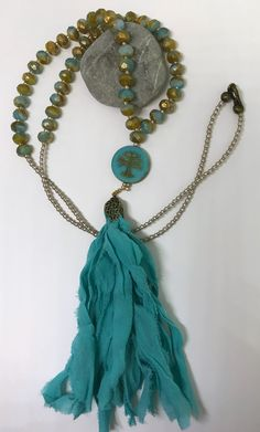 Czech beads BoHo Necklace. Silk tassel.