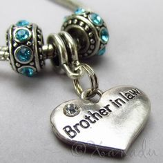 Brother In Law European Birthstone Trio For Large Hole Charm Bracelets