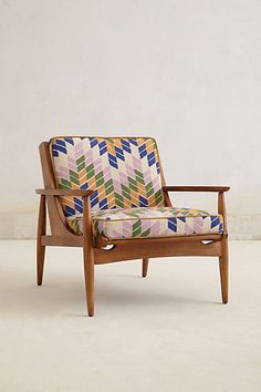 NuBuiten inspiratie // #Indoor #Chair #Hardwood // Hanne Checked Armchair #anthropologie