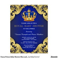 Fancy prince boy baby shower invitations. Royal blue and gold crown accent this lovely invite.