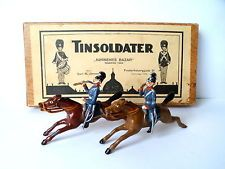 Vintage Model Tin Soldiers. 2 Mounted Danish Cavalry - 1920's in original box.