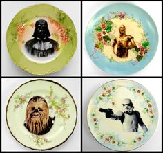 Nothing says Classy Geek like these Altered  Antique Star Wars Plates. It gives you something to look forward to while you shovel the food down your throat. Mmmm Mmmm Mmmm! Buy them up at BeatUpCreations' Shop!