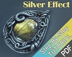 Polymer Clay Tutorial - Tibetan silver technique -clay jewellery, silver clay imitation tutorial