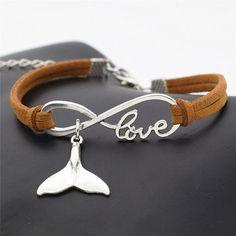 Love Infinity Whale Tail Charm Bracelet