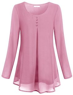 Women's Clothing, Tops & Tees, Blouses & ButtonDown Shirts, Women's Rollup Long Sleeve Round Neck Layered Chiffon Flowy Blouse Top Pink style fashion Tops Tees outfits Clothin is part of Women blouses fashion - Kurti Designs Party Wear, Kurta Designs, Blouse Designs, Frock Fashion, Fashion Dresses, Style Fashion, Fashion 2020, Fashion Shoes, Womens Fashion
