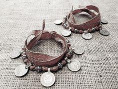 Matching Boho Gypsy Coin Anklets / Bracelets w Earthy Tribal Silk and Kuchi…