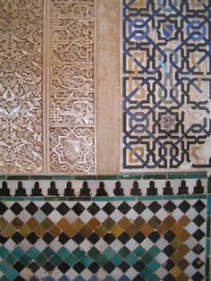 Mosaic tile in the Alhambra; Granada, Spain. The colors and textures have withstood the test of time!