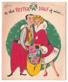 Vintage greeting card christmas couple santa suit mid-century humor buzza a Vintage Greeting Cards, Christmas Greeting Cards, Christmas Greetings, Vintage Postcards, Christmas Couple, Old Fashioned Christmas, Christmas Past, Xmas, Christmas Ideas