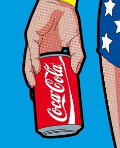 Wonder Woman with a Can of Coca Cola pop art illustration poster print