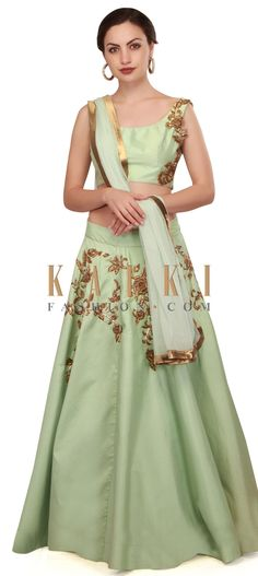Dull green lehenga adorn in zardosi embroidery only on Kalki Green Lehenga, Lehenga Choli, Zardosi Embroidery, Wedding Suits, Indian Dresses, Traditional Dresses, Indian Wear, Bridal Collection, Blouse Designs