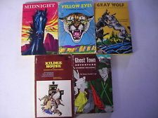 5 RUTHERFORD MONTGOMERY PAPERBACKS YELLOW EYES, GRAY WOLF, GHOST TOWN ADVENTURE, MIDNIGHT, KILDEE HOUSE