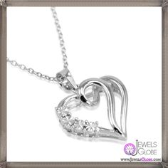 Journey Diamond Heart Necklace Set in Sterling Silver