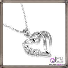 Journey Diamond Heart Necklace Set in Sterling Silver