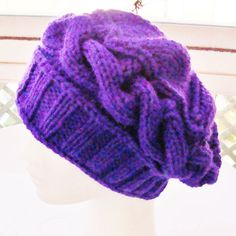 Womens Purple Hat Beanie SlouchyWomens FashionHand by earflaphats, $30.00