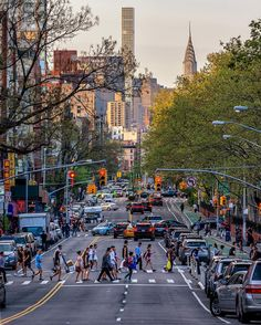 Chrystie Street in Chinatown NYC at sunset.