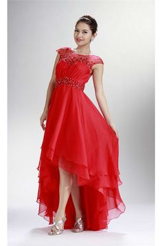 Fashion Cap Sleeve Open Back High Low Red Chiffon Beaded Prom Dress