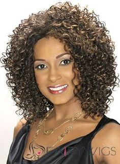 Faddish Medium Curly Sepia African American Lace Wigs for Women